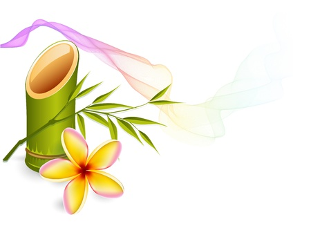 aromatherapy oil: aroma spa oil in bamboo tube and flower illustration