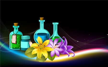 aromatherapy oil: aroma spa oil bottles and flower illustration