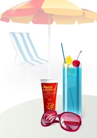 suntan lotion: Summer vacation sunglasses suntan cream with Juice