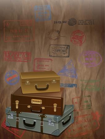 packing suitcase: Viaggio Sfondo Vintage con un bagaglio e stampato la lettera