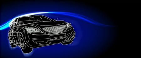 car racing design in black background Vector
