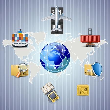 embarque: Distribuci�n y la ilustraci�n de transporte de carga