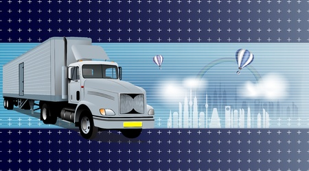 truck on highway: logistics theme background