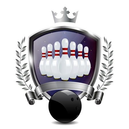military training: Emblem of sport champion Bowling Illustration