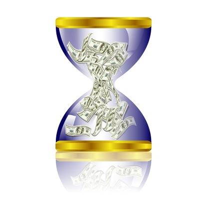 horas: Billetes de un d�lar de peluche en reloj de arena Vectores