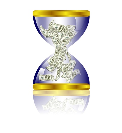 money time: Dollar bills stuffed in hourglass Illustration