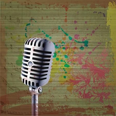 studio lighting: Grunge background with microphone Illustration