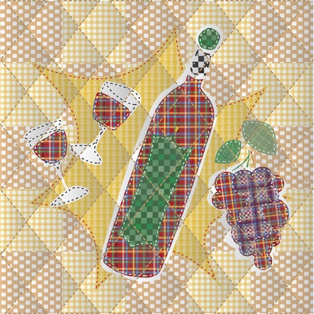 opener: Illustrations patchwork of bottle of wine and a glass of wine  Illustration