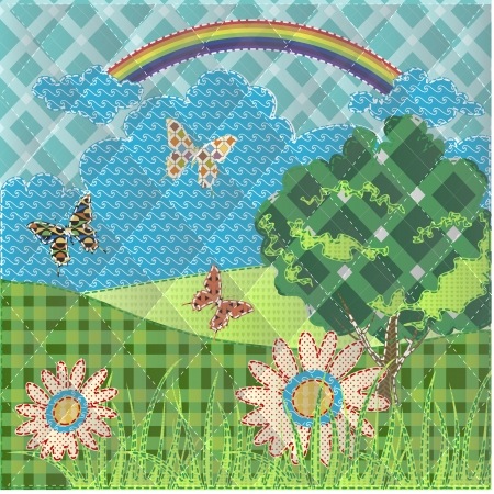 patchwork landscape: patchwork with hills flowers , butterfly and tree Illustration