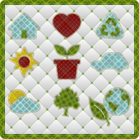 quilting: Collection patchwork concept of environment icons Illustration