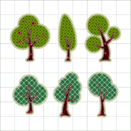 Collection patchwork concept of tree icons set Stock Vector - 13031488
