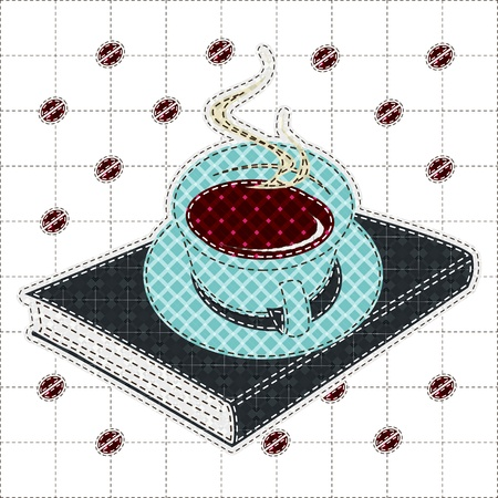 tatter: Illustrations patchwork of Coffee cup and book