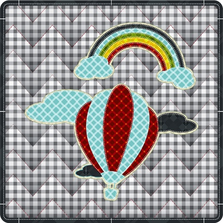 tatter: Illustrations patchwork of balloon with rainbow celebration Illustration