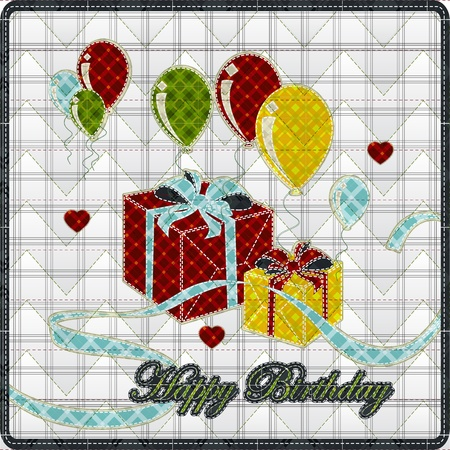 Illustrations patchwork of balloon with gift box happy birthday Vector