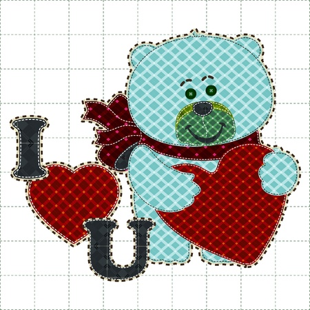 Illustrations patchwork of bear holding a heart Vector