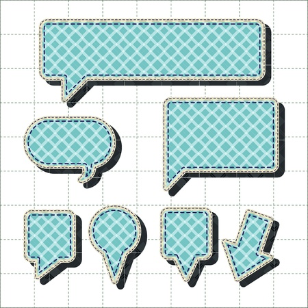 tatter: patchwork concept set of map markers, tabs, and banners