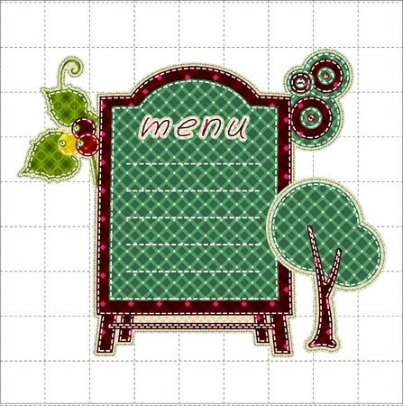 tatter: Illustrations patchwork of menu boards with tree