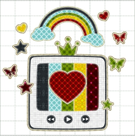 tatter: Illustrations patchwork of retro tv color screen rainbow
