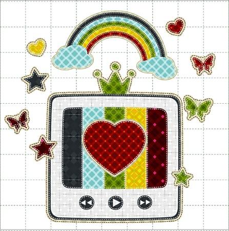 tatter: Illustrations patchwork of retro tv color screen rainbow