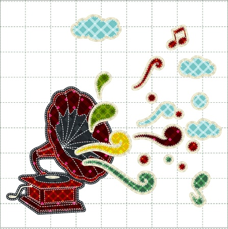tatter: Illustrations patchwork of gramophone or phonograph celebration