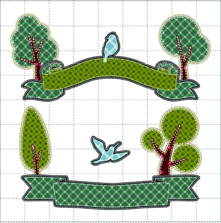 Illustrations patchwork of birthday ribbon with tree and bird Vector