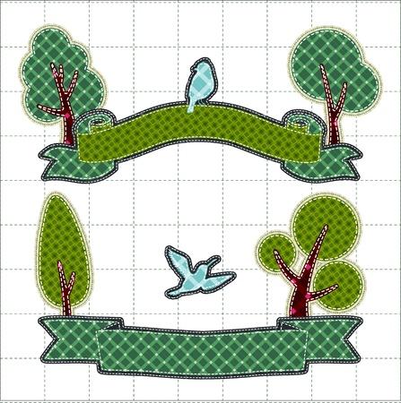 tatter: Ilustraciones mosaico de la cinta de cumplea�os con el �rbol y el p�jaro Vectores