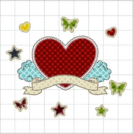 tatter: mosaico del Coraz�n de la cinta con la tarjeta de saludos por San Valent�n d�a