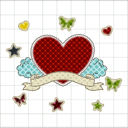 affection: patchwork of Heart with ribbon greetings card for Valentines day