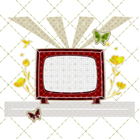 scots: patchwork of retro tv with flower, butterfly