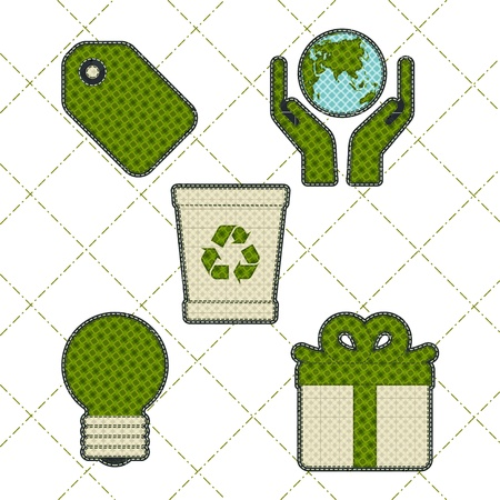 tatter: Collection patchwork concept of Eco icons set Illustration