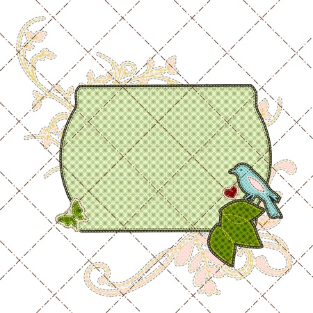 Illustrations patchwork birthday card with frame and bird Vector