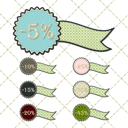 tatter: patchwork concept of ribbon discount tag set Illustration