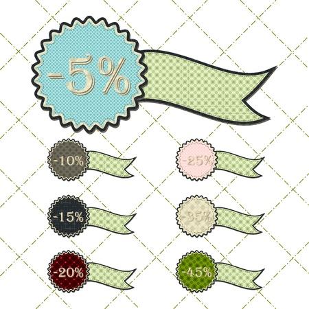 tatter: patchwork concept of ribbon discount tag set Illustration