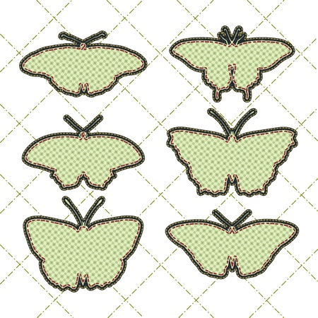 tatter: patchwork concept shape of butterfly set Illustration