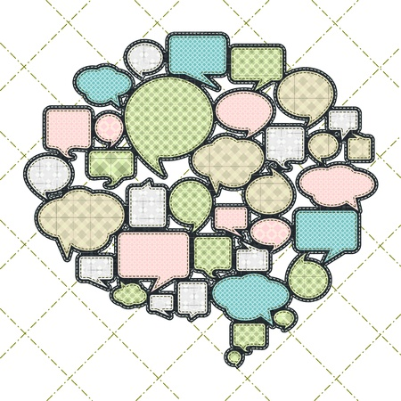 tatter: patchwork concept shape of cloud talk Illustration
