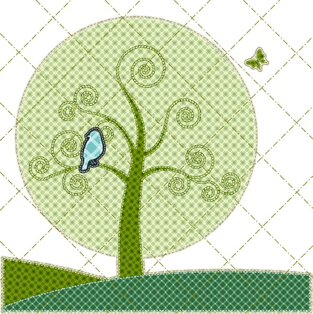 patchwork: Illustrations patchwork of birthday card with tree and bird Illustration