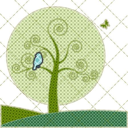 tatter: Ilustraciones mosaico de tarjeta de cumplea�os con el �rbol y el p�jaro