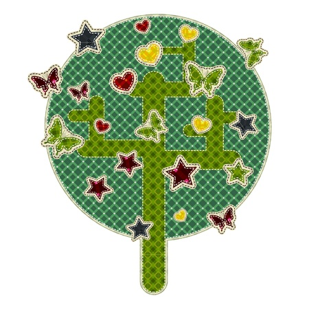 tatter: Illustrations patchwork of tree with star, butterfly, heart