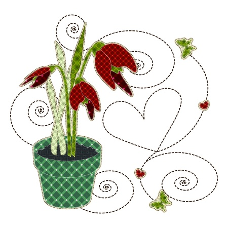 quilting: Illustrations patchwork of tulips in a pot with butterfly