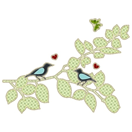 Illustrations patchwork of love bird Vector