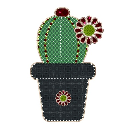 tatter: Illustrations patchwork of Cactus in a pot Illustration