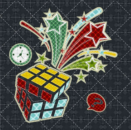 tatter: Illustrations patchwork of Rubiks Cube celebration
