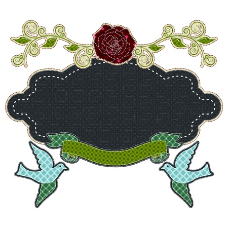 tatter: Illustrations patchwork of frame love with rose