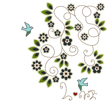 tatter: Illustrations patchwork of Leaves, flowers,love birds card