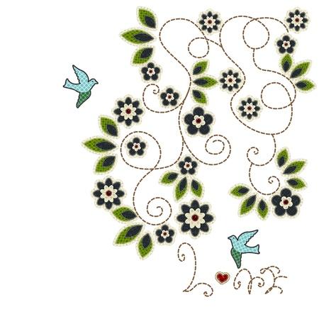 tatter: Illustrations patchwork of Leaves, flowers,love birds card