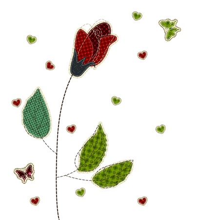 tatter: Illustrations patchwork of rose heart butterfly