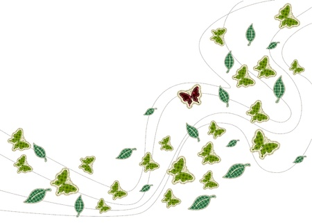 tatter: patchwork of Leaves with butterfly background