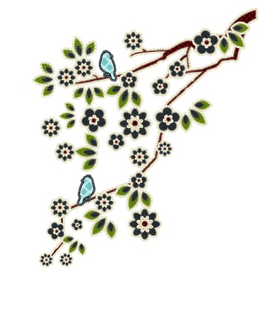 tatter: Illustrations patchwork of Leaves, flowers, birds