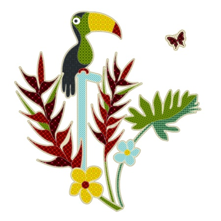 tatter: Illustrations patchwork of tropical bird and tropical flower