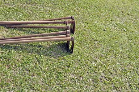 overgrown: Spade on the lawn